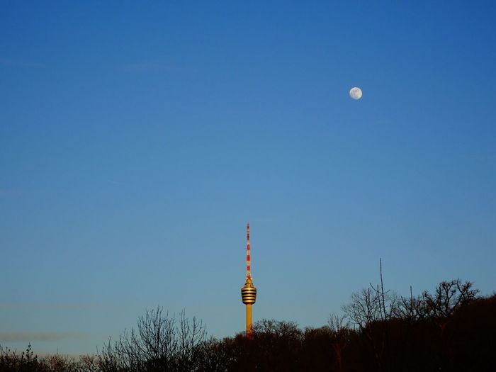 Blue Architecture Sky Tower Travel Destinations No People City Scenics Antenna - Aerial Clock Outdoors Moon Nature Astronomy Day Beliebte Fotos Taking Photos Photooftheday Eye4photography  Skyporn Moon Stuttgart Eye4photography  TV Tower Eyeem0711