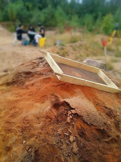 Sifter Riddle Archeology Archeological Site Archaeology Outdoors Day Close-up Finland Nature Red Sand Sandpit Pile