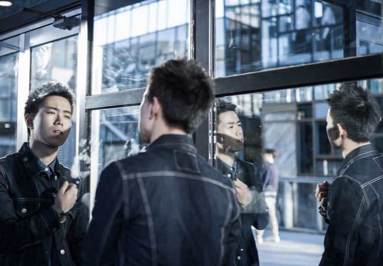 Fashionable City Men Window Glass - Material City City Life Glass Person Modern Handsome Facial Expression Fresh On Eyeem  Day Mirror Traveling Outdoors People Travel
