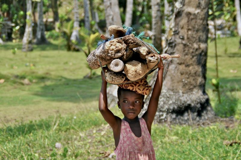 Girl looking away while carrying wood on head