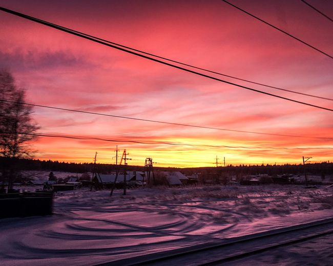 EyeEm Nature Lover EyeEmNewHere EyeEm Best Shots Sunset Sky Orange Color Nature Cable Silhouette Beauty In Nature Shades Of Winter