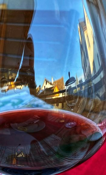 Digital composite image of glass and car window