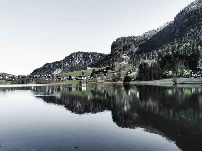 Scenic view over lake thiersee in the tyrolean alps near kufstein reduced colors