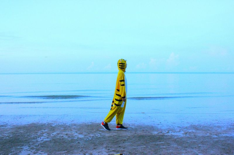 Side view of person in tiger costume walking at beach