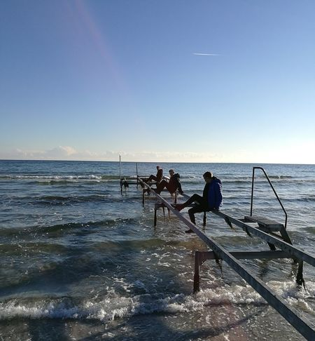 Sea Horizon Over Water Water Outdoors Only Men Two People Nature Beach Full Length youngAdult People Sky Wave Day