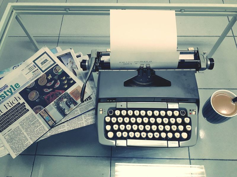 Lieblingsteil Type Writer Adapted To The City Working Newspapers Coffee Time Thinking Being Creative Mobile Photography