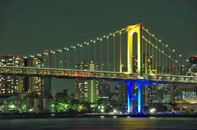 Illuminated Architecture Built Structure Bridge - Man Made Structure Connection Night Transportation Suspension Bridge Water Building Exterior Sky Outdoors Travel Destinations City No People Modern