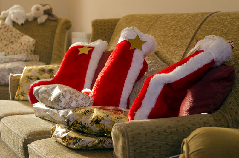 Christmas Stockings on Christmas morning. Christmas Christmas Day Christmas Presents  Home Christmas Tree Close-up Day Freshness Indoors  Living Room No People Sofa Storm Cloud Table