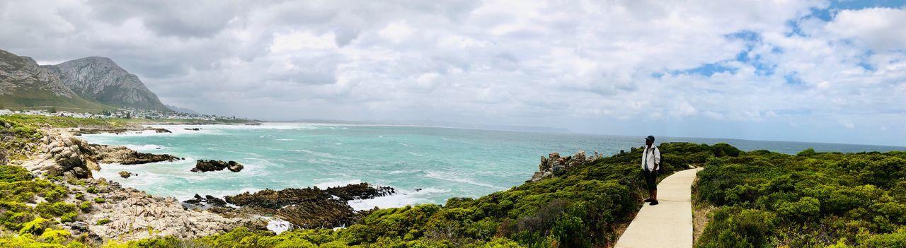 Panoramic shot of sea against cloudy sky