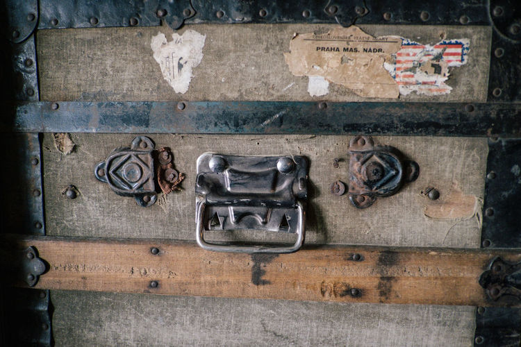 No People Wood - Material Old Metal Close-up Antique Architecture Communication Day Outdoors Full Frame Entrance Door Retro Styled Handle Backgrounds History The Past Latch Suitcase Bag Bags