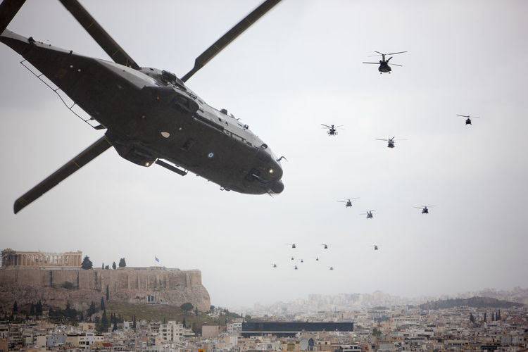 Today, March 25th, Independence day, Athens, Greece Acropolis Air Force Air Vehicle Athens City Cockpit Day Flying Full Frame Gray Sky Greece Helicopter Helicopters Independence Day Low Angle View Military Helicopter Parade Propellers Tail Boom