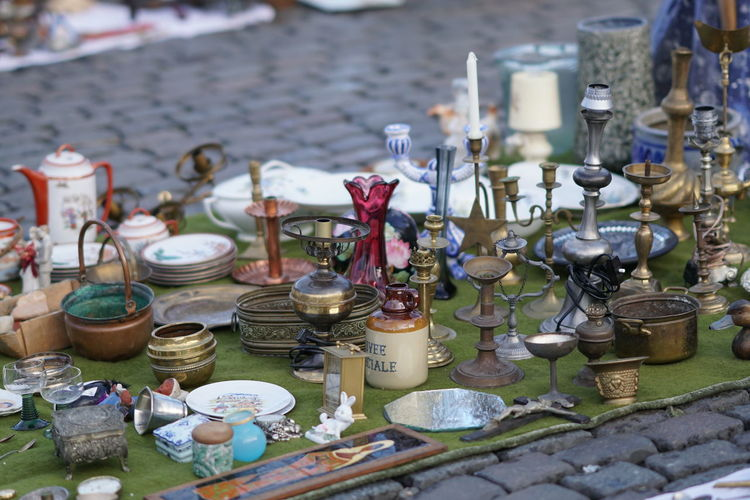 Various objects for sale at flea market