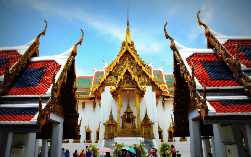 Majestic architecture Architectural Feature Architecture Blue Buddism Buddist Temple Built Structure Cloud Cultures Day Façade Grand Palace Bangkok Thailand Low Angle View No People Outdoors Place Of Worship Religion Sky Spiritual Spirituality Temple Temple - Building Tourism Travel Destinations Colour Of Life Eyeemphoto