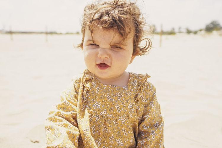 Portrait of cute girl at beach
