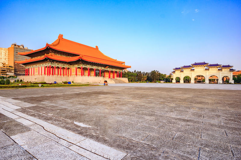 Chiang Kai-Shek memorial hall, famous landmark and travel destination in Taipei, Taiwan Ancient Architecture Architecture Blue Sky Building Building Exterior Built Structure Chiang Kai-shek Memorial Hall Culture Day Destination Hall Historical Library Memorial National Landmark No People Outdoors Sky Taipei Taiwan Theater Traditional Travel Destinations