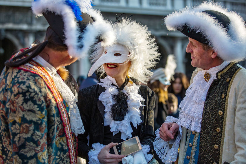 Carnival Carnival In Venice Adult Adults Only Arts Culture And Entertainment Carnival Costumes Celebration Costumes Day Event Leisure Activity Lifestyles Mask Men Outdoors People Real People Togetherness Tradition Traditional Clothing Women