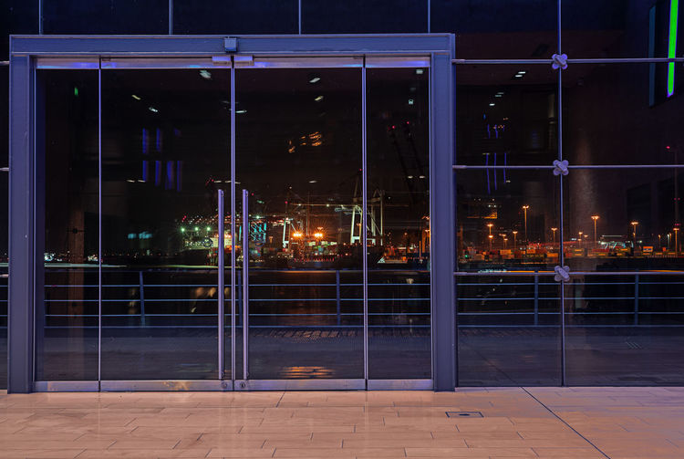 Night Illuminated Built Structure Architecture Building Exterior City Glass - Material No People Building Window Outdoors Transparent Street Modern Entrance Reflection Hamburg, Port Of Hamburg  Habor Of Hamburg Habour