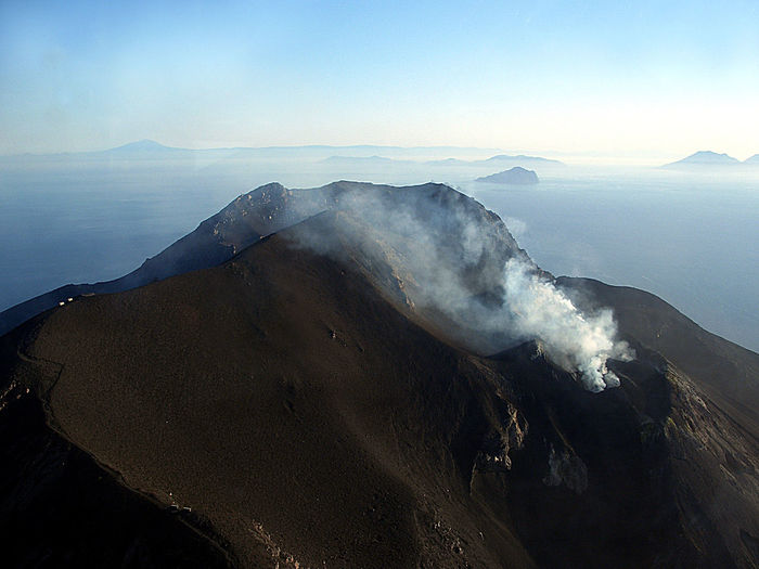 Fire Geology High Angle View Mountain Nature Physical Geography Power In Nature Rock Smoke Island Volcano Stromboli Stromboli Volcano Mediterranean Sea Eolian Islands Eolie Islands Sea