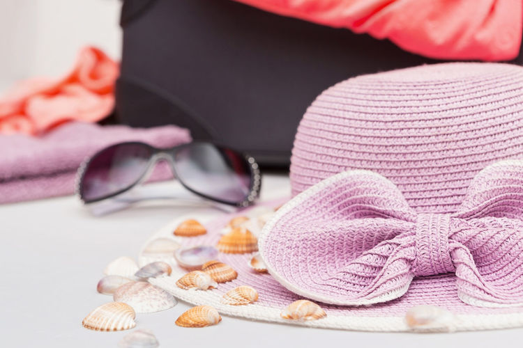Close-up of sunglasses with hat