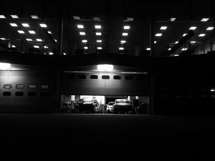 Illuminated parking lot at night
