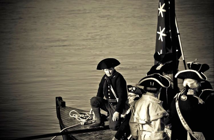 Reenactment of Washington's Crossing during the Battle of Trenton on December 25, 1776 Durham Boat Boats EyeEm Revolutionary Reenactors Uniform Costume Historic History George Washington 1776 EyeEm Best Shots Revolutionary War Revolution Soldier Battle Of Trenton Battle Reenactment Battle Washington Crossing Reenactment Monochrome Blackandwhite Black And White Black & White Sepia