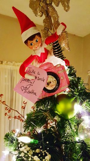 Hanging Out Naughtyelf Christmastree Elfontheshelf Mischievous Lights Smile