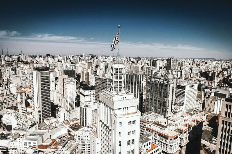 Heli view Architecture City Flag Building Exterior Built Structure Patriotism Outdoors Day Cityscape Sky Travel Destinations No People Sao Paulo - Brazil Lost In The Landscape