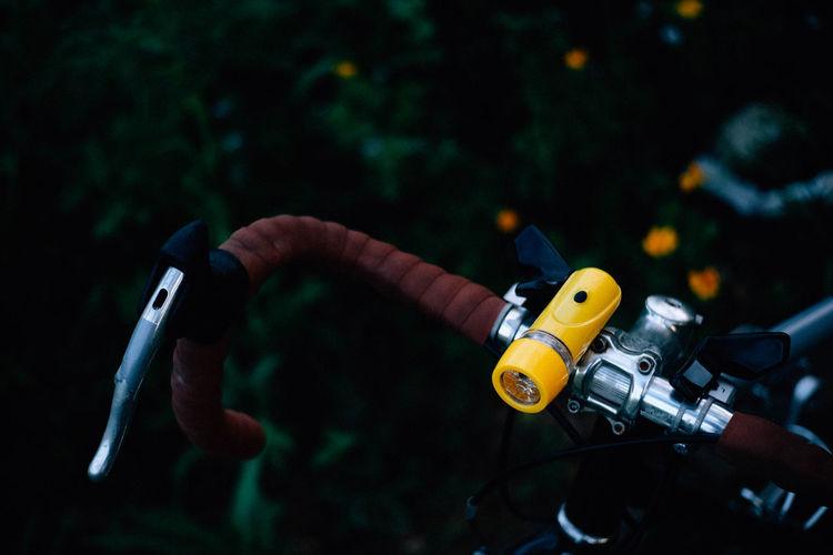 High angle view of handlebar of bicycle