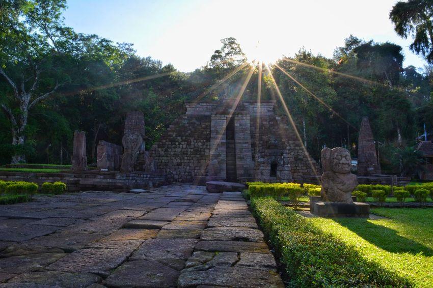 Shining sun Majapahit History Sunlight Hindu Temple Temple Grass Close-up Perspective Outdoors No People Travel Destinations Sunrise