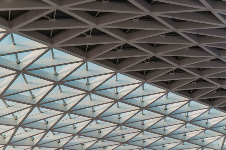 Architecture Pattern Backgrounds Built Structure Full Frame Architecture No People Low Angle View Ceiling Geometric Shape Architectural Feature Indoors  Design Repetition Day Shape Metal Roof Textured  Sunlight Directly Below Architecture And Art