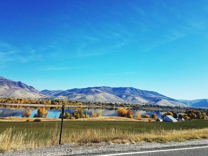 Mountain Sky Blue Mountain Range Water Lake Pineview Dam Utah Road Fall Colors