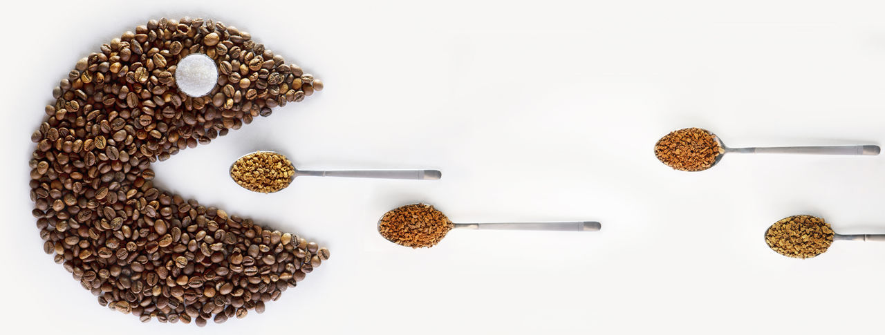 Coffee Coffee Beans Creative Creativity Food And Drink Freshness Indoors  No People Spoon White Background