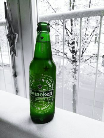 Beer Bottle Drink Green Color Alcohol Black & White Blackandwhite Photography Green Collection Heineken Heinekenbeers Cold Temperature Outdoors Couch Potato Couch Time The Week On Eyem