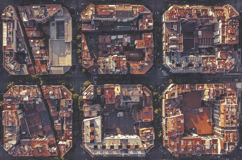 Directly Above Shot Of Buildings In Town