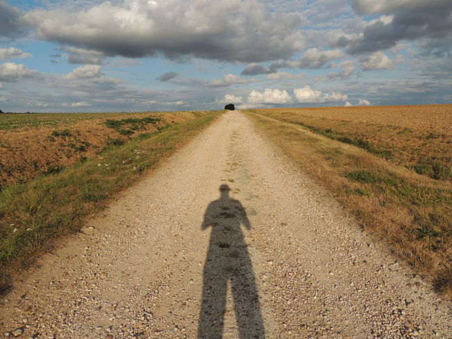 France Loire Touraine Cloud - Sky Day Diminishing Perspective Direction Dirt Road Environment Field Focus On Shadow Grass Horizon Over Land Land Landscape Nature Outdoors Plant Road Shadow Sky Sunlight The Way Forward Transportation vanishing point