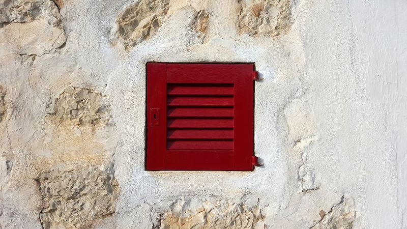 Red Outdoors Day No People Red Wooden Window Wall Textures Mediterranean  Wall PlasterWood Window Sunlight On The Wall Lamellar Eyecatcher Stones In The Wall Minimalism Square Square Wooden Window