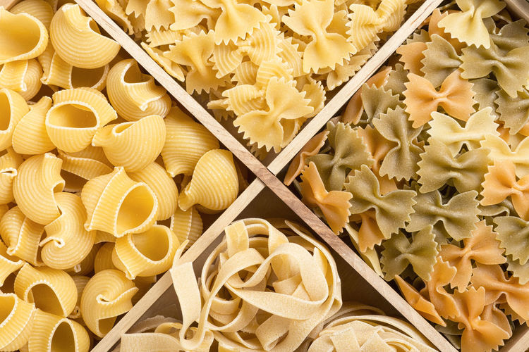 Directly Above Shot Of Various Pasta