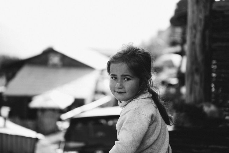 Side portrait of innocent girl