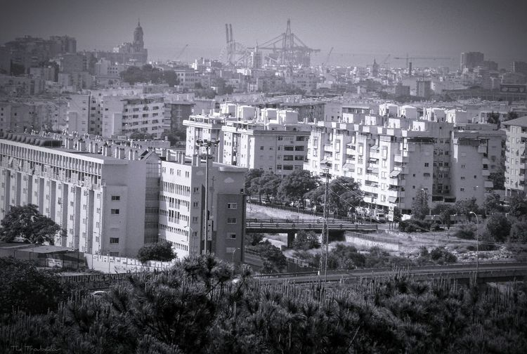 "Battle Of The Cities ""Beautiful Málaga, with the Cathedral, the Port, and the Mediterranean Sea in the background"" 💙 From A Bird's Eye-view Monochrome Architecture Building Exterior Black & White Built Structure City Residential Building Fresh On Eyeem  Residential Structure Residential District Cityscape Crowded Sky City Life not my Firts Eyeem Photo B&w No People Development EyeEm Gallery Week On Eyeem From My Eyes To Yours Photo Of Today in Málaga Spain ❤"