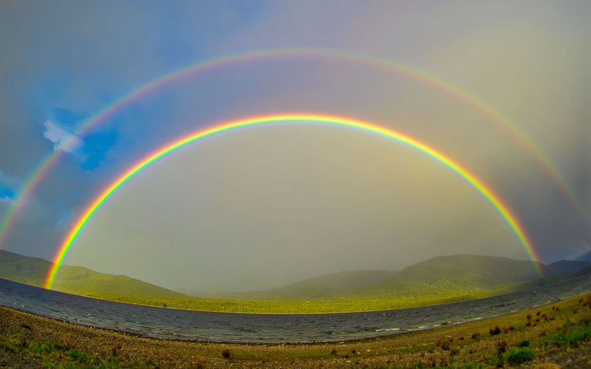 Scenic view of rainbow against sky