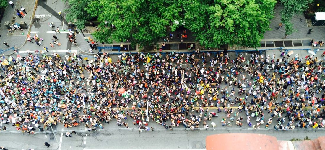 High angle view of crowd marching on street by tree