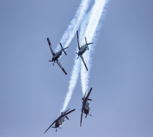 Aerobatic, Team, Flying, Aircraft, Vintage AerobaticTeam Air Vehicle Airplane Airshow Airshow Aviation Beechcraft Blue Blue Sky Flying Formation Flying IAF Ii Independence Day Israel Israeli Air Force Low Angle View Military Airplane Motion Sky Smoke Smoke - Physical Structure T-6 Texan Vapor Trail