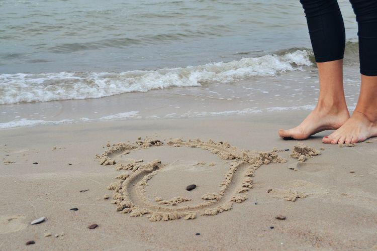 Low Section Beach Sea Sand Standing barefoot Human Leg Child Summer Close-up FootPrint Human Foot Feet Sandy Beach