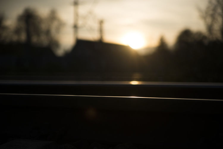 Blurry No People Reflection Silhouette Sunset Sunset Silhouettes Train Train Tracks