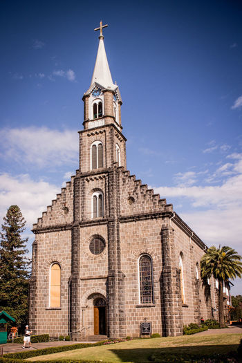 Gramado, Brazil Architecture Bell Tower Building Exterior Built Structure Cloud - Sky Cross Day History No People Outdoors Place Of Worship Religion Serra Gaúcha Sky Spirituality Tree