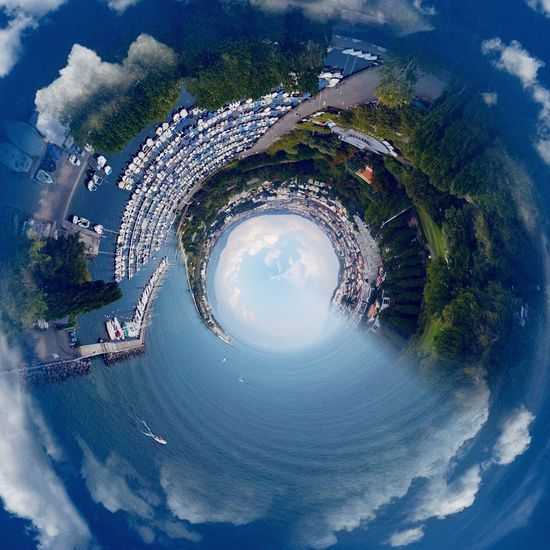 Vidy Switzerland Fish-eye Lens Blue Sky Water Circle Sea Geometric Shape Day Nature Scenics Curve Canal Round Outdoors Beauty In Nature Cloud - Sky Waterfront Tranquility Aerial View Tranquil Scene Creativity Lausanne Switzerland Fragility Travel Destinations