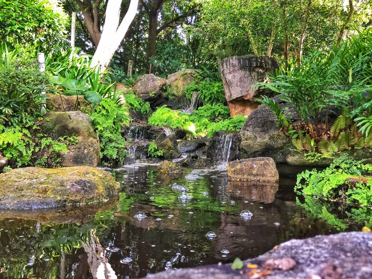 Japanese gardens Bubbles Waterfall Water Day Outdoors Reflection No People Nature Beauty In Nature
