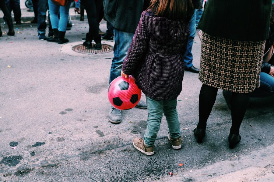 Ball Pink Football Soccer Girl Littlegirl Present Christmastime Presents Celebrating New Years Resolutions 2016 RePicture Femininity Streetphotography Grandmother Family Celebration Casual Clothing Winter Party Composition Low Section Street Fashion Street People My Student Life