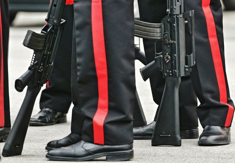 carabinieri Uniform Carabinieri Italy Armed Armed Forces Rifle Assault Rifles Submachinegun Machine Gun Black Police Uniform Low Section Men Army Soldier Military Parade Military Uniform Police Force Uniform Military Security Guard Army Soldier