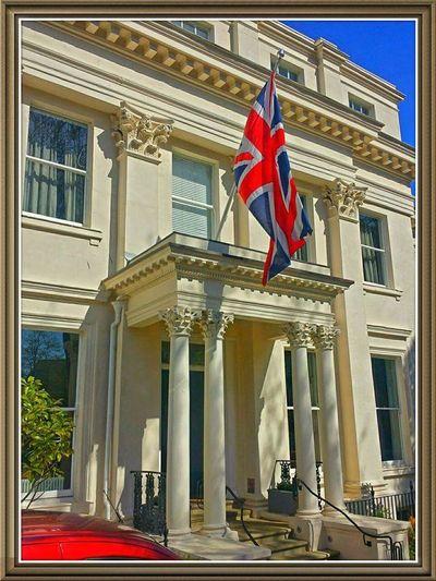 Taking Photos While At Work Delivery Man Union Jack Cheltenham Hotel Regencyhotel Gloucestershire UK